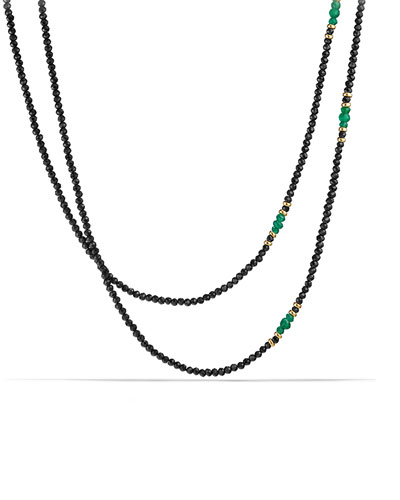 Osetra Tweejoux Black Spinel & Green Onyx Necklace, 36