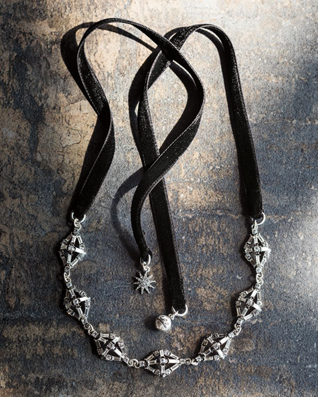 Proxima Velvet Choker Necklace, Silver/Black