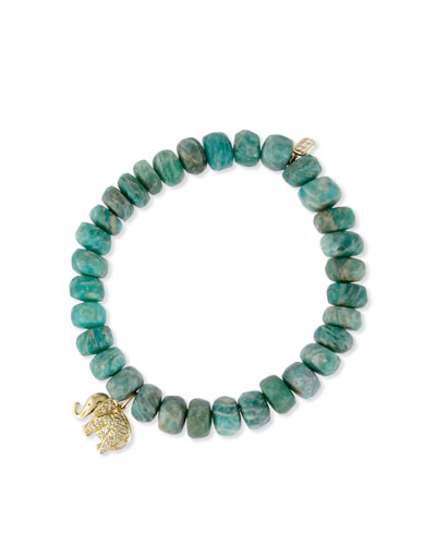 Amazonite Bead Bracelet w/ 14K Gold Diamond Elephant Charm