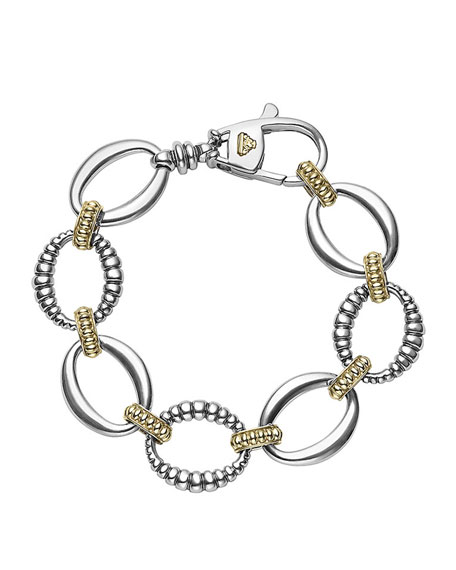Lagos Fluted Oval Caviar Link Bracelet