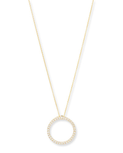 18K Gold Small Diamond Circle Necklace