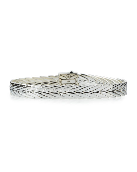 Modern Chain Gold/Silver 8mm Rectangular Bracelet with Pusher Clasp, Size M