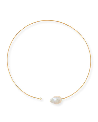 14K Small Pearl & Diamond Collar Necklace