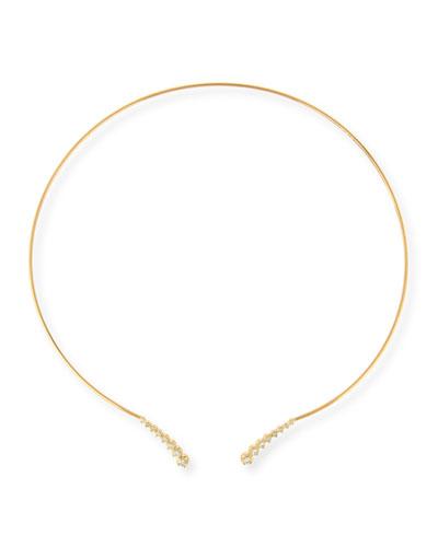 14K Curved Diamond Collar Necklace