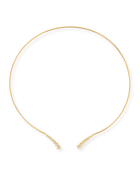 14K Curved Diamond Collar Necklace