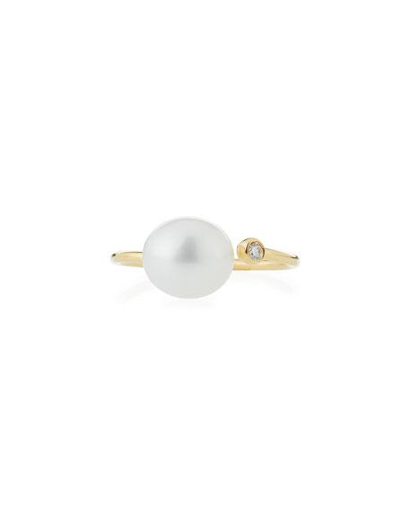 Mizuki 14K Gold Open Diamond & Pearl Ring