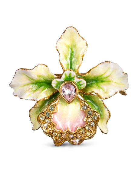 Jay Strongwater Anita Orchid Pin