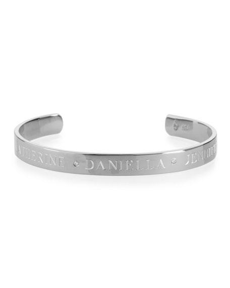 6mm Ciela Trio Name Cuff Bracelet with Diamonds