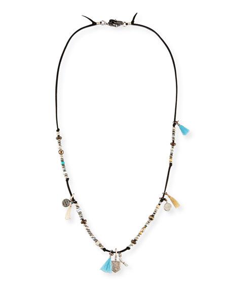 Adam Suede Silvertone Tassel Necklace