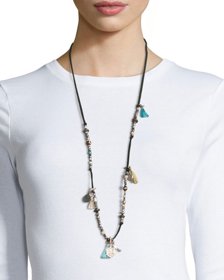 Adam Suede Silvertone Tassel Necklace