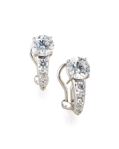 Fantasia by DeSerio Tapered CZ Crystal Earrings