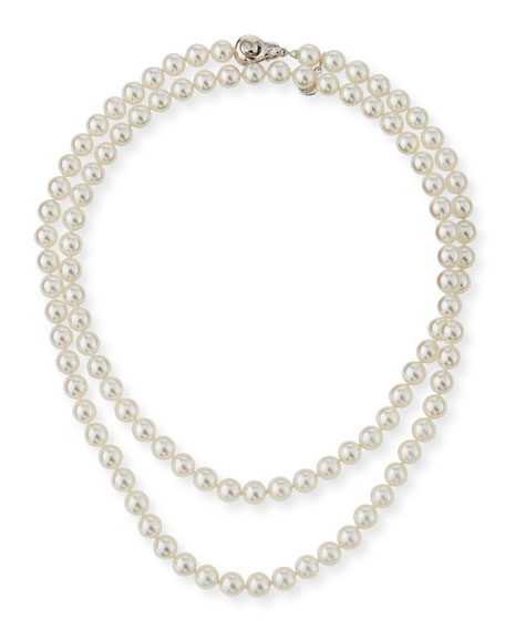 8mm Simulated Pearl Necklace with Moveable Clasp, 35""