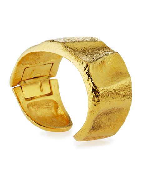 Hammered 24K Gold-Plated Bangle