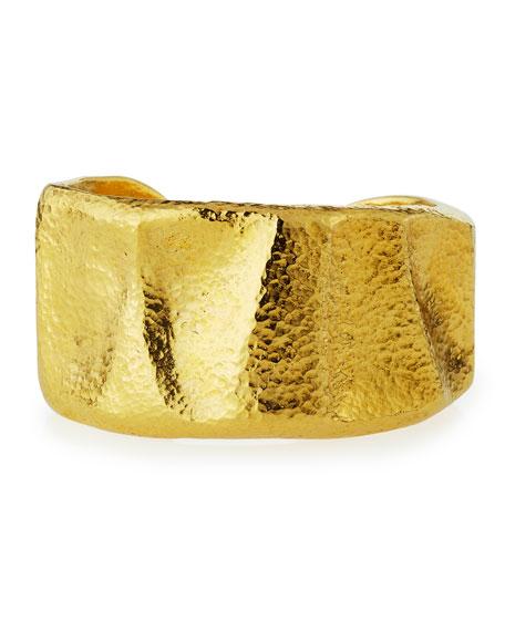 Hammered 24K Gold-Plated Bangle