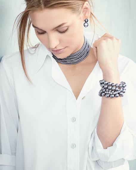 Multi-Strand Gray Simulated Pearl Choker Necklace