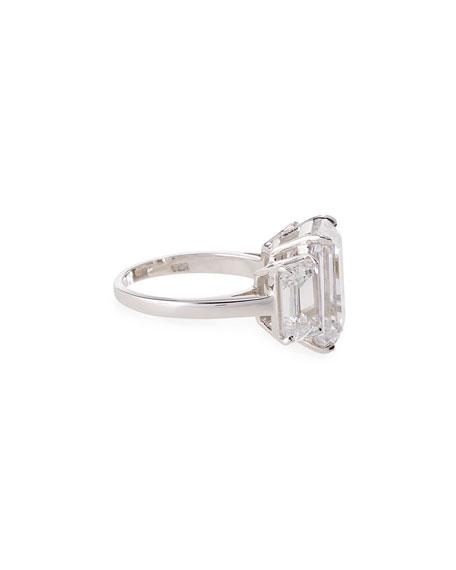 Three-Stone Emerald-Cut Cubic Zirconia Crystal Ring