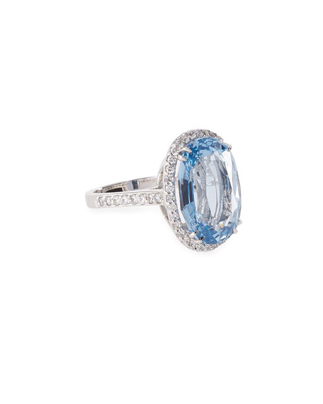 Fantasia by DeSerio Oval Aqua Cubic Zirconia Ring