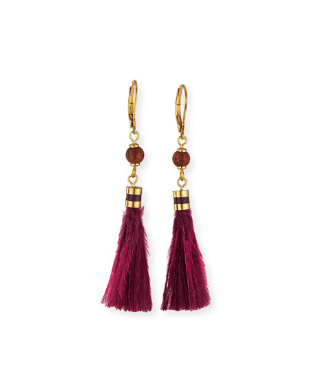 small feather tassel earrings, purple/multi