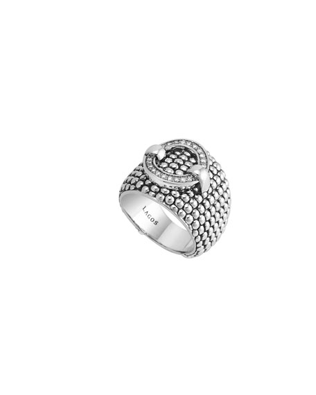 Lagos 18mm Enso Diamond Buckle Ring, Size 7