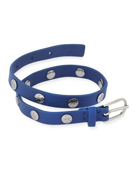 Leather Logo-Stud Double-Wrap Bracelet