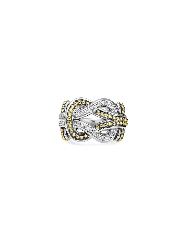 Lagos Large Newport Diamond Knot Ring, Size 7