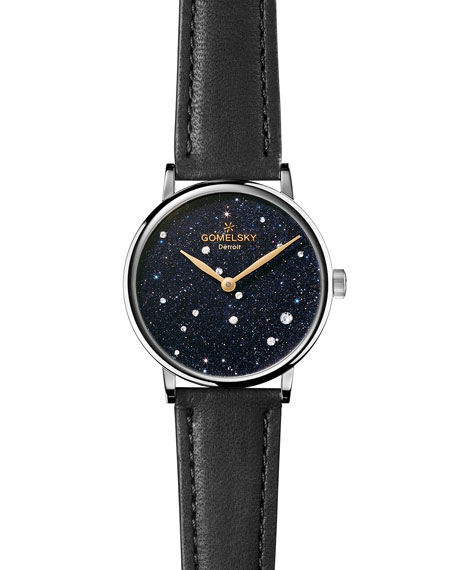 Gomelsky Sandstone Leather Strap Watch with Diamonds