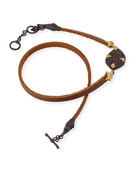 Old World Leather Double-Wrap Bracelet with Diamonds