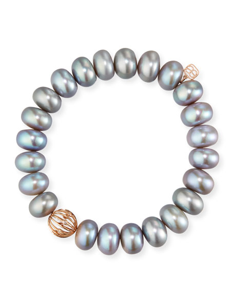 Sydney Evan 10mm Gray Pearl Bracelet w/ 14k