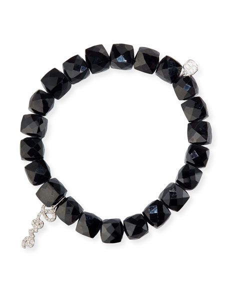 Sydney Evan Black Spinel Beaded Bracelet with 14k