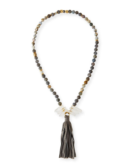 Akola Long Beaded Gray Druzy & Agate Necklace