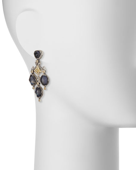 18K Gold & Sterling Silver Crystal Quartz Over Spectrolite Chandelier Earrings