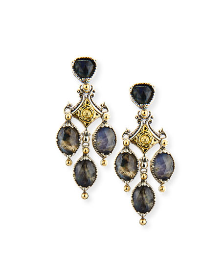 18K Gold & Sterling Silver Crystal Quartz Over Spectrolite Chandelier Earrings