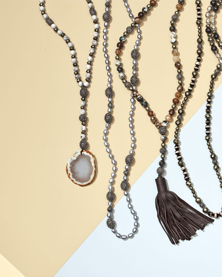 Hipchik Remi Seed Pearl Necklace, Gray