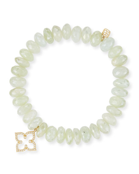 SYDNEY EVAN 10Mm Prenite Beaded Bracelet W/14K Gold Diamond Flower Charm in White