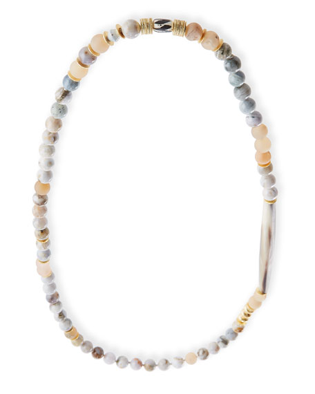 Akola Long Beaded Necklace with Horn Tube, 35