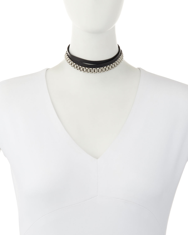 Fallon Armure Watch Strap Leather Choker Necklace A8Z7EAj