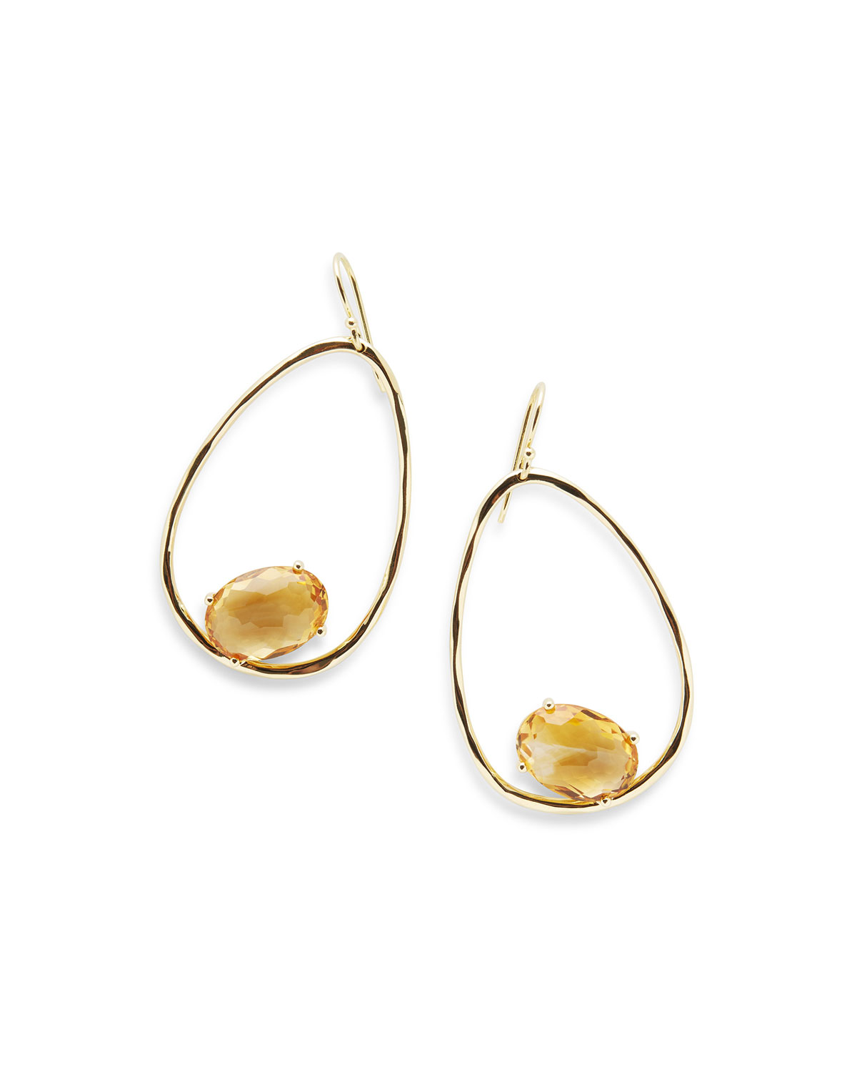 Ippolita 18K Rock Candy Tipped Oval Wire Earrings in Mother-of-Pearl h1AvwkQ