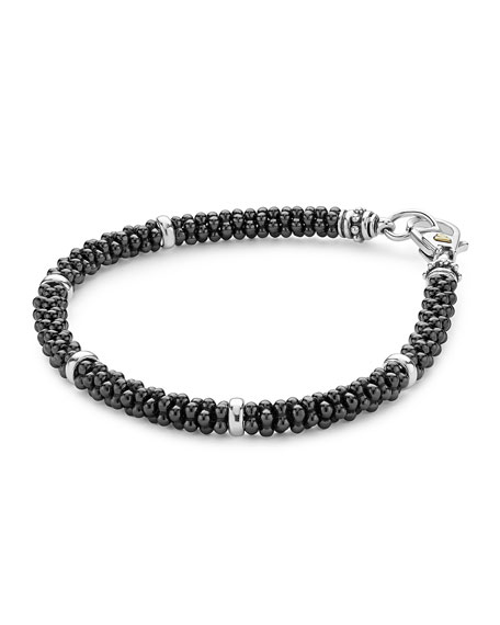 Ceramic Black Caviar Beaded Bracelet, 7""
