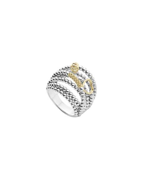Lagos Icon Caviar Domed Multi-Row Ring, Size 7