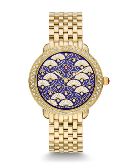 Serein Diamond Fan Watch Head, Blue/Gold
