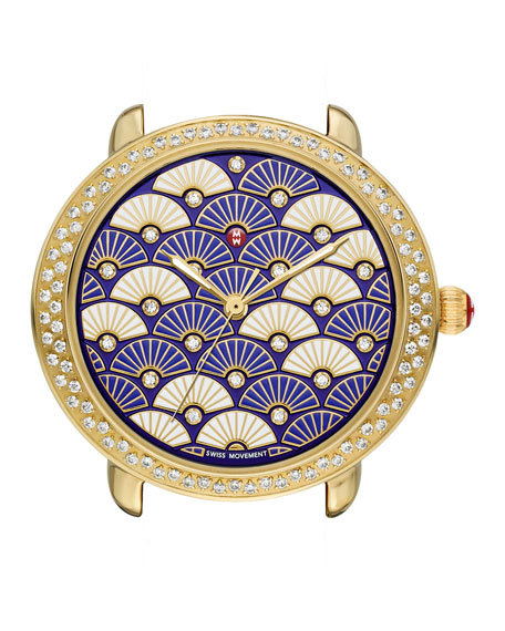MICHELE Serein Diamond Fan Watch Head, Blue/Gold