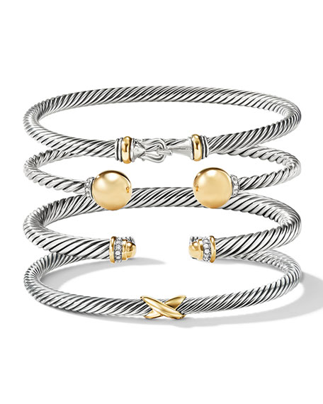Image 5 of 5: David Yurman Cable Classic Buckle Bracelet with 18K Gold, 5mm