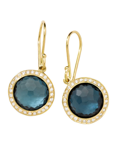 18k Mini Lollipop Earrings in London Blue Topaz with Diamonds
