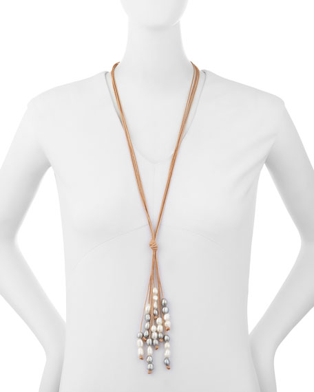 Hipchik Daniela Leather Strand Necklace with Baroque Pearls