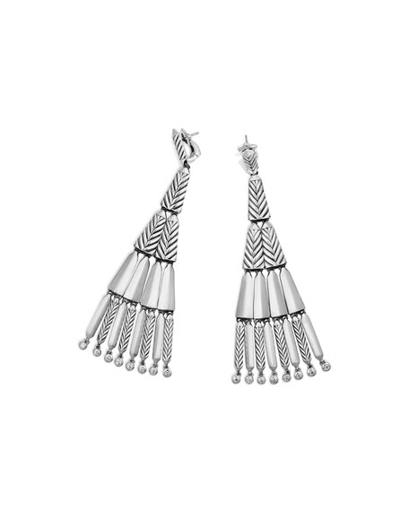 Stax Silver Fringe Earrings with Diamonds