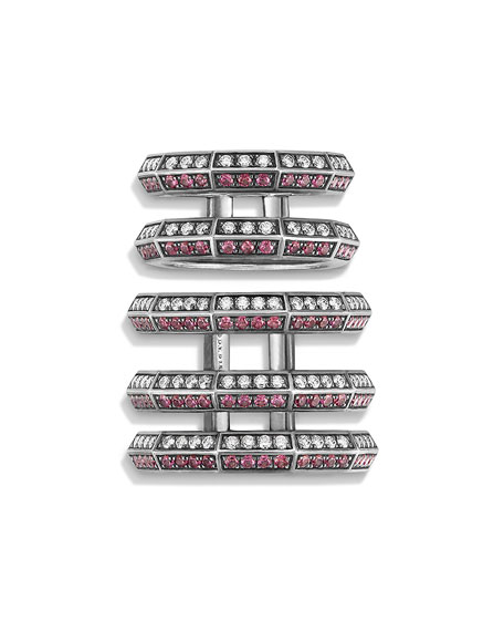 Stax Cage Ring with Rubies & Diamonds in Sterling Silver
