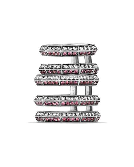 David Yurman Stax Cage Ring with Rubies &