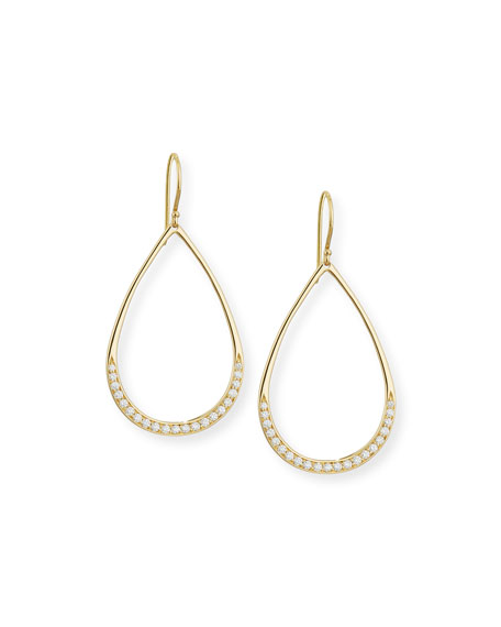 Ippolita Stardust Elliptical Gold Pave Teardrop Earrings