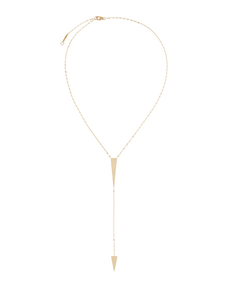 Gloss 14k Yellow Gold Geo Lariat Necklace