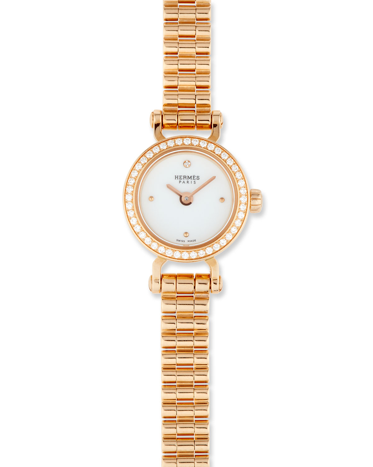 Hermès Fauborg TPM Watch with Diamonds in 18K Rose Gold